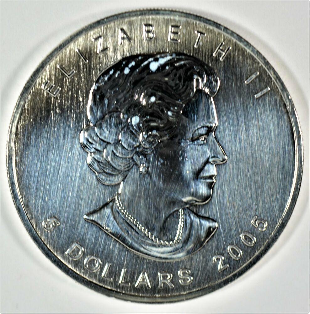 2005 5 Canadian Maple Leaf One Oz 9999 Fine Silver Coin B524 11 Coins Paper Money Bullion Silver Ebay