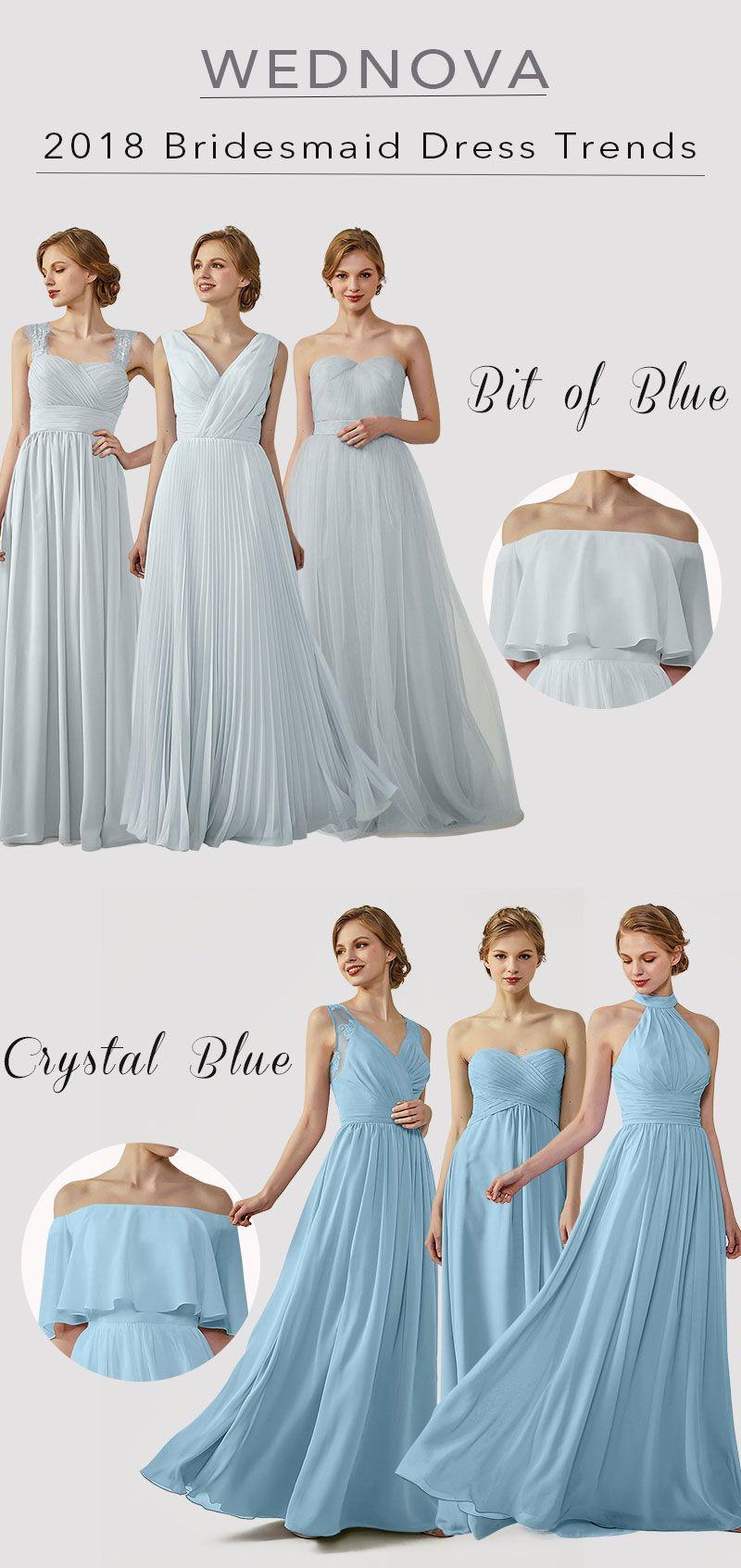 unique chiffon bridesmaid dress ombre blue v neck dress strap