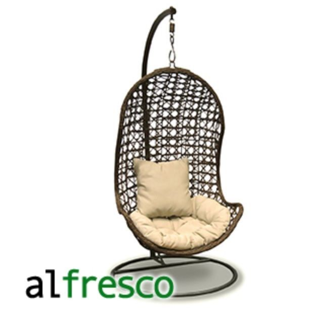 Al Fresco St Tropez Hanging Chair And Cushion Gray Wood Dining Chairs 195 Luxury Garden Patio Swing Seat Pod Hammock Boxed Rrp 299