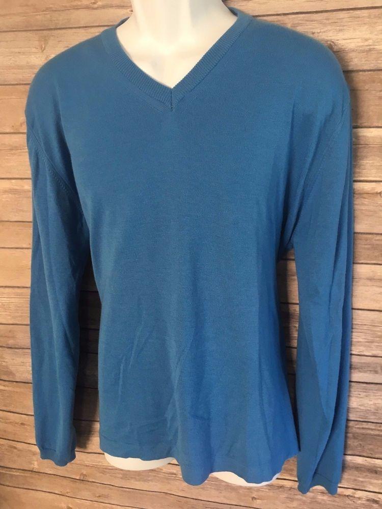 TOSCANO Men's Sweater Size Large Blue V-Neck Cotton Blend Long Sleeve Winter #Toscano #VNeck #ebay
