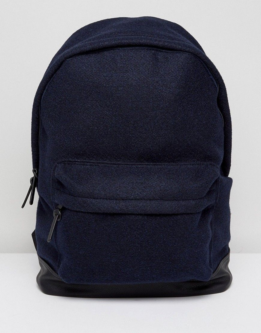 Rolltop Backpack In Blue With Faux Leather Base - Blue Asos Outlet Low Price Official Site Cheap Price Htzv9T