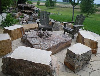 Outdoor Firepit With Boulders Examples Of Our Stone Fireplaces And Fire Pits In Action
