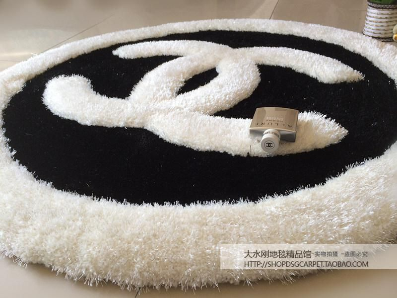 Designer Brand Coco Chanel Black And White Area Rug