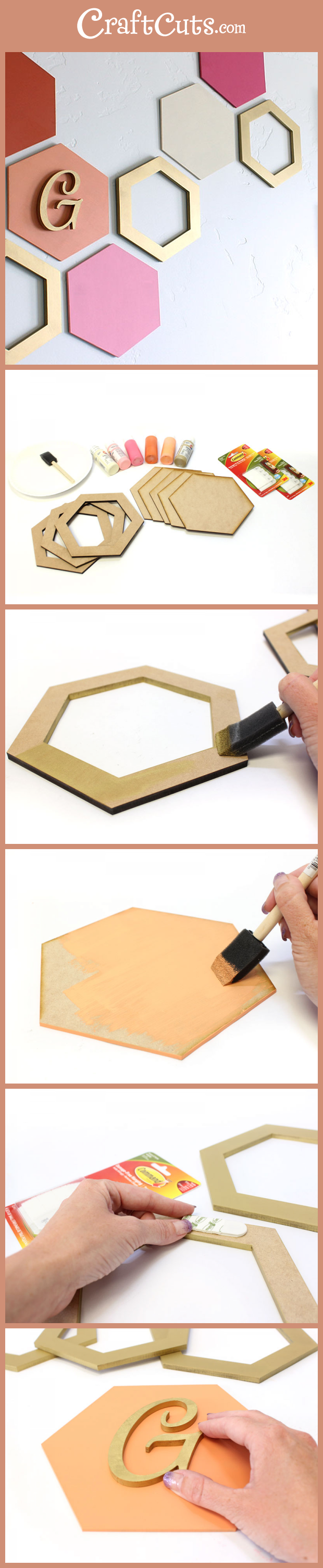 Simple hexagon wall art geometric wood shapes craftcuts