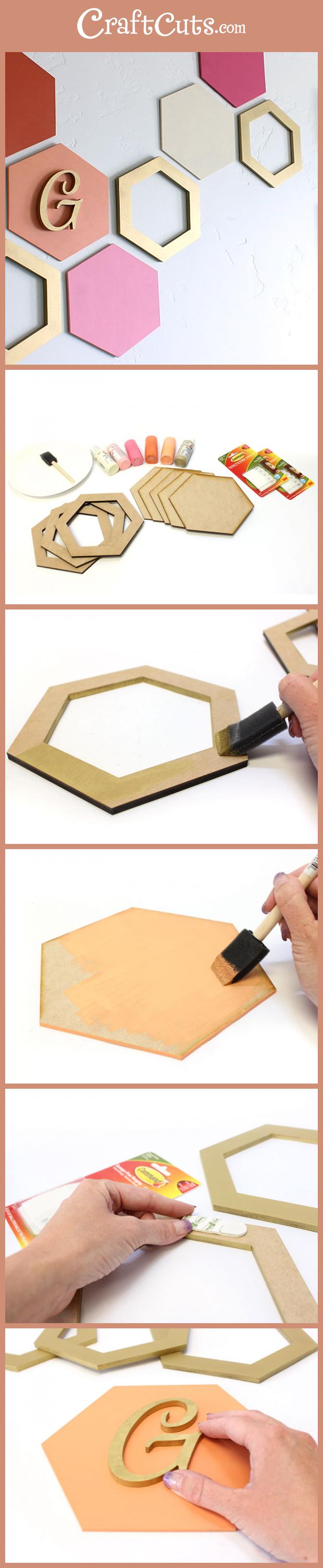 Simple hexagon wall art geometric wood shapes craftcuts diy