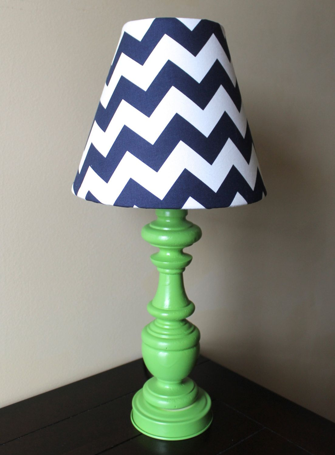Orange and turquoise lamp shade - Navy Blue And Green Chevron Lamp Ooak By Starlightsbyamber Would Chose Orange Base