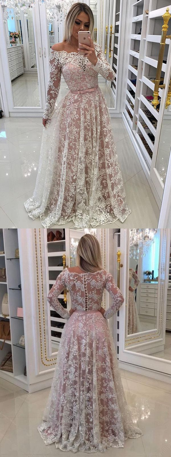 Chic a line wedding dress with sleeves cheap lace long wedding dress