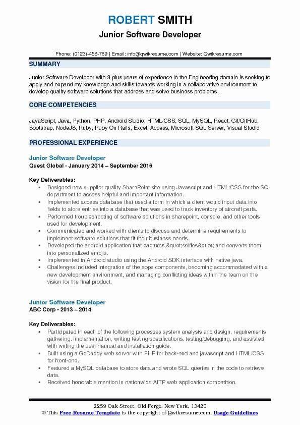 Junior Software Engineer Resume Unique Junior Software Developer Resume Samples Softwareengineer Junior In 2020 Resume Examples Job Resume Samples Job Resume Examples