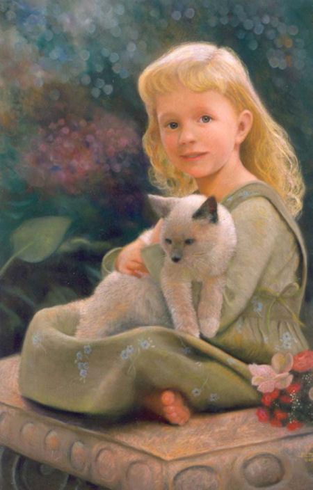 pastel portrait, commission, by Nancy Lee Moran, size 27 x 17 inches, created from my own 1999 photos and sketches, painted  in 2001, Mallory at age four, garden bench, cat, colors of turquoise blue, green, coral red, gray