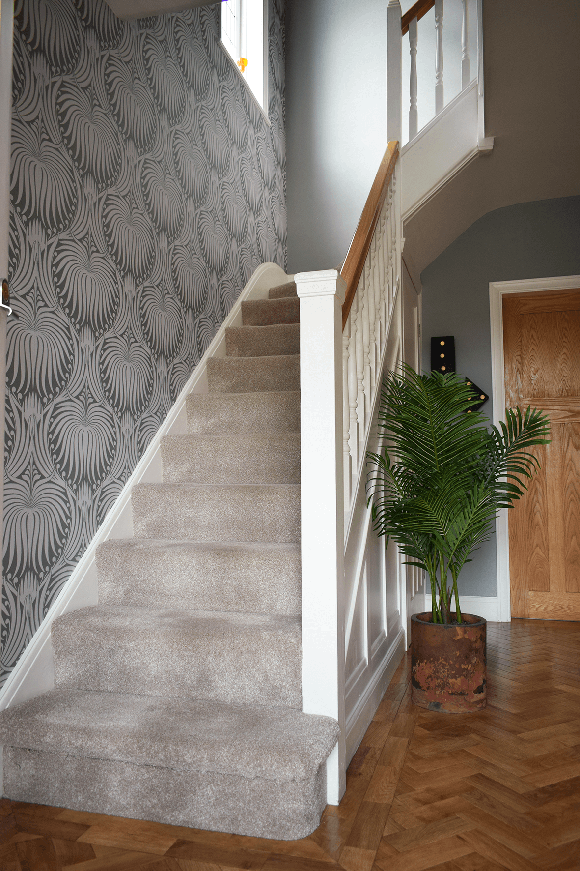 Hallway stairs stairway indoor plant wallpaper feature wallpaper parque flooring hallway renovation before and after projects interior