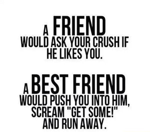 friend vs best friend crush | me and my friend | Bff quotes, Best