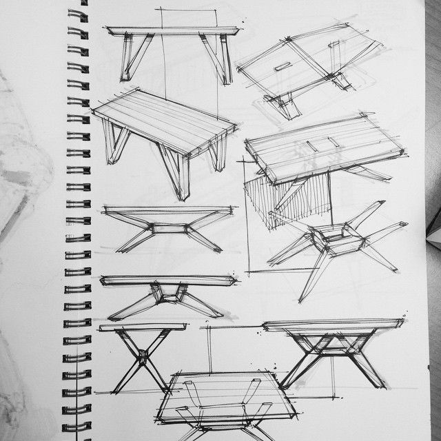 Charmant Table Design Sketches For A Client. #sketchaday #pilotfineliner #copic  #muji Sketchbook