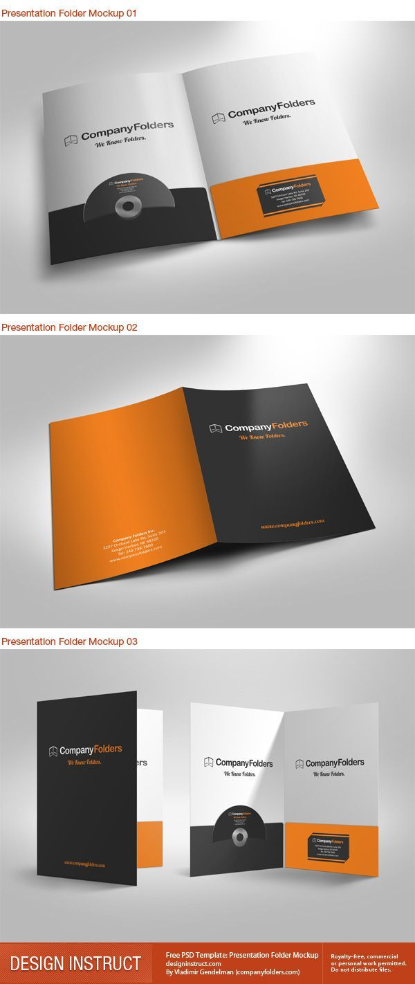 Free Presentation Folder Mockup Pinteres - Brochure folder template