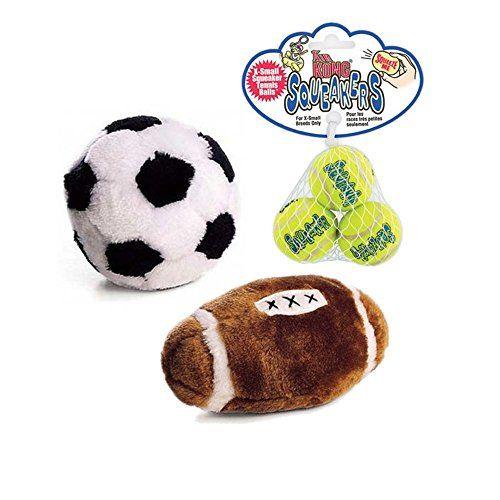 3 Pack Small Air Kong Squeaker Tennis Balls Spot Plush Soccer Ball