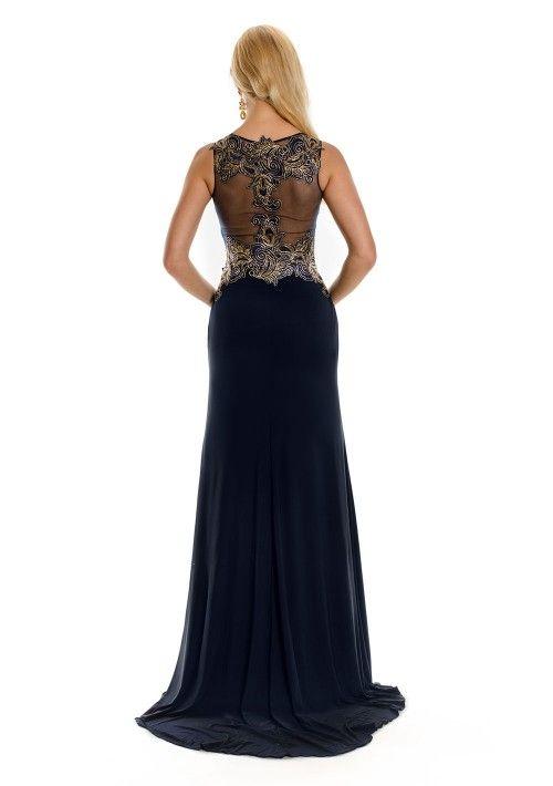 Dunkelblaues Abendkleid aus Jersey mit floraler Stickerei - bei VIP ...