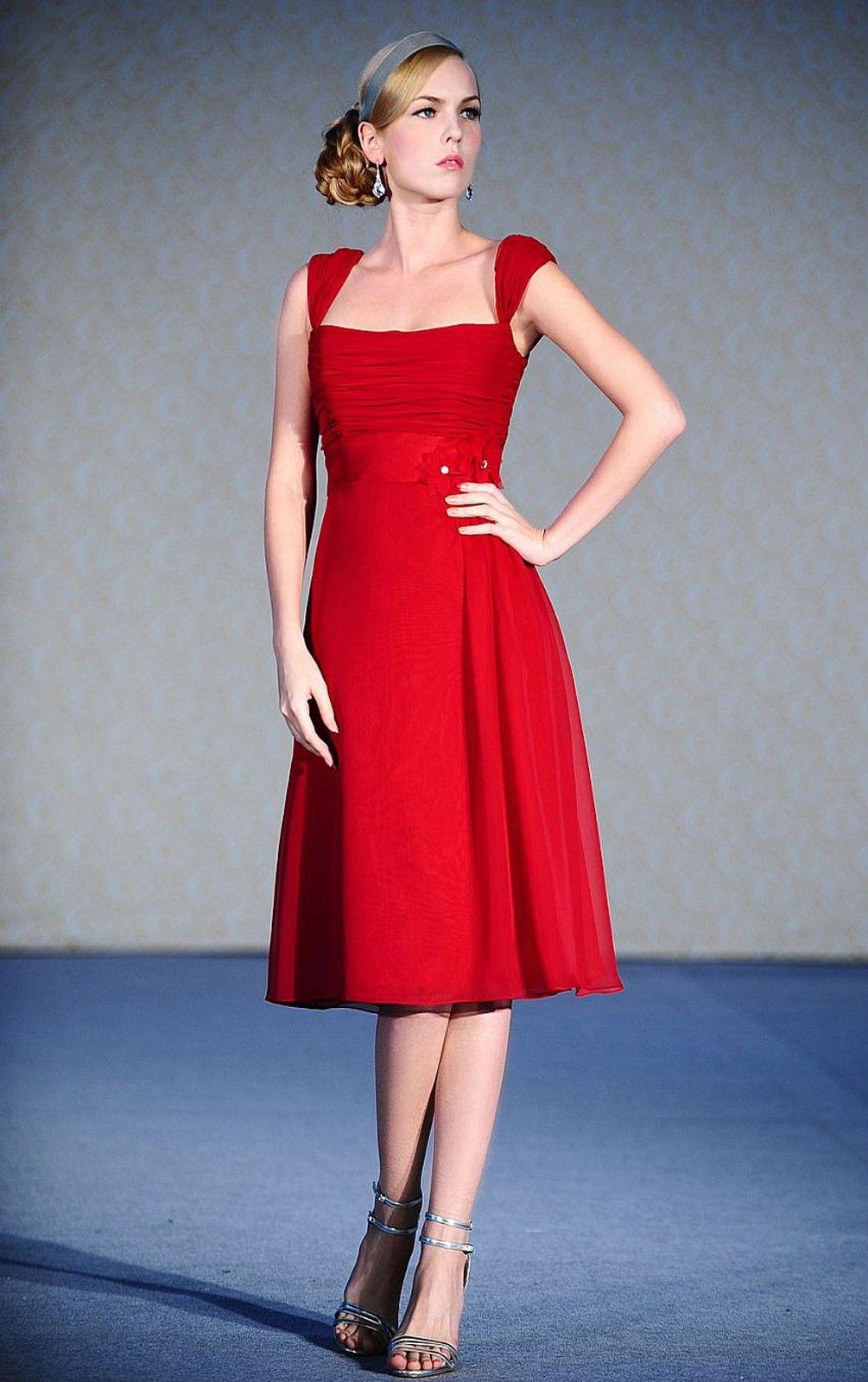 Womens Fancy A-line Tea-length Square Red Dress Online Australia ...