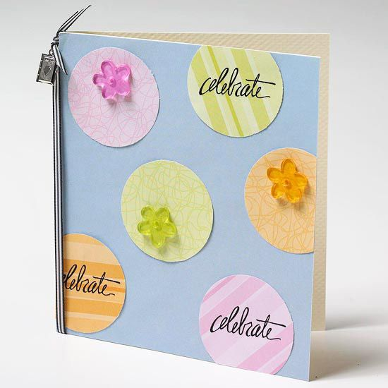 Easy greeting cards to make pinterest cards card ideas and simple greeting card place rub on sentiments atop cutout circles to make a quick card finish the simple design with a ribbon border on one side m4hsunfo