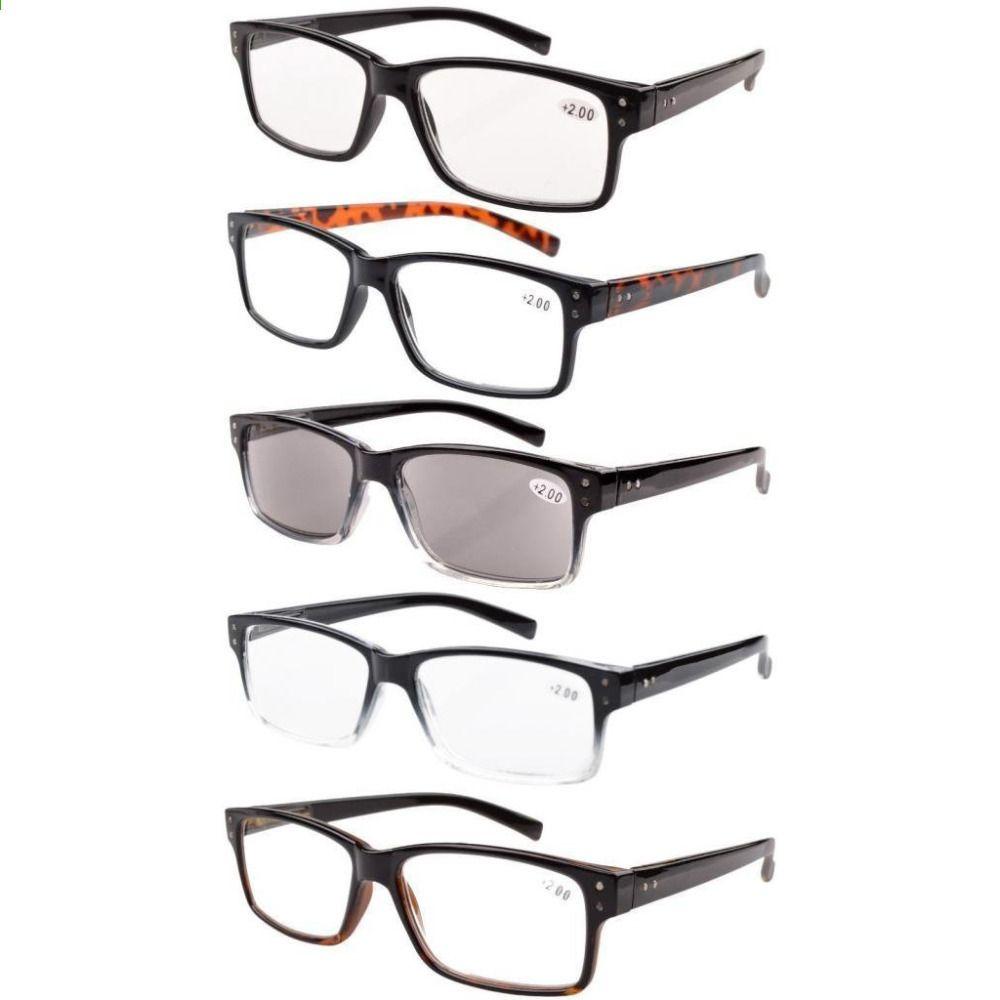 71284d69d57d8 Eyekepper R032 5-pack Primavera Dobradiças Vintage Óculos de Leitura Homens  Inclui Leitores de Sol
