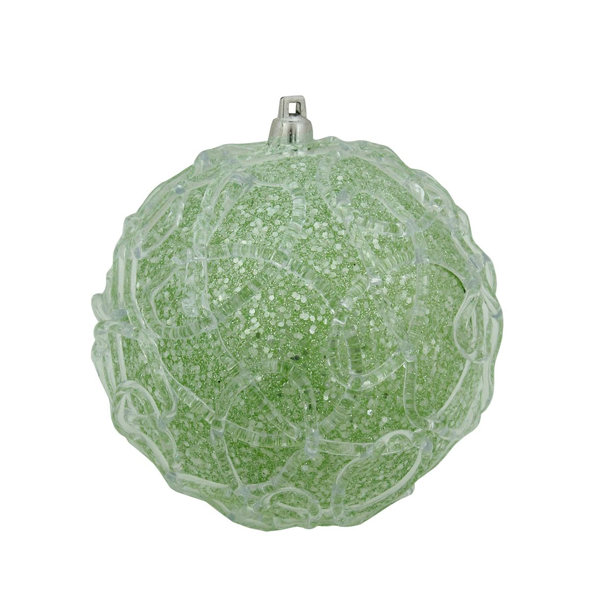 Green Glittered Shatterproof Swirl Christmas Ball Ornament 4 100mm Colorful Christmas Tree Christmas Ornaments Ball Ornaments