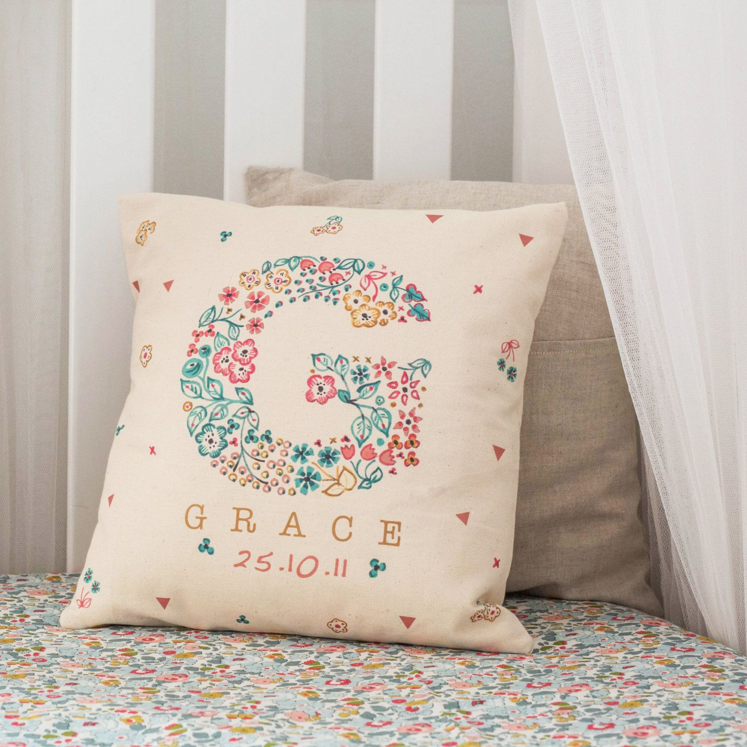 Baby christening girl cushion personalised with name and date