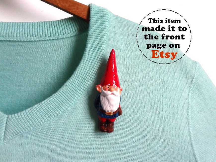 Brooch Garden Gnome by LaLaForest on Etsy, €8.00