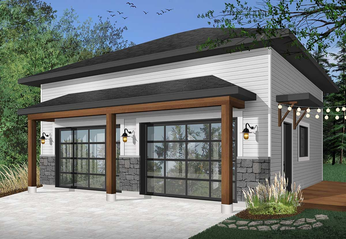 Plan 22508dr Modern 2 Car Detached Garage Garage Door Design