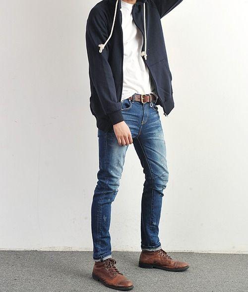 Men's Navy Hoodie, White Crew-neck T-shirt, Blue Jeans ...