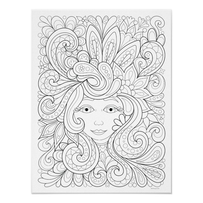 Free Spirit Coloring Poster Colorable Poster Art