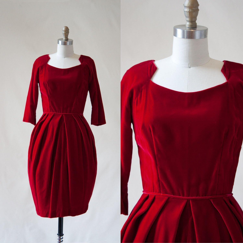 Vintage s red velvet dress wiggle sleeves via etsy maids
