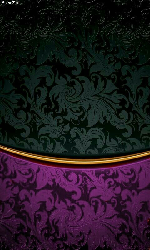 Black And Purple Gold Damask