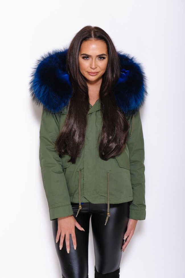 Green Parka With Blue Fur