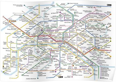 Paris Subway 2016 Poster Paris Metro Map Paris Metro Paris Map