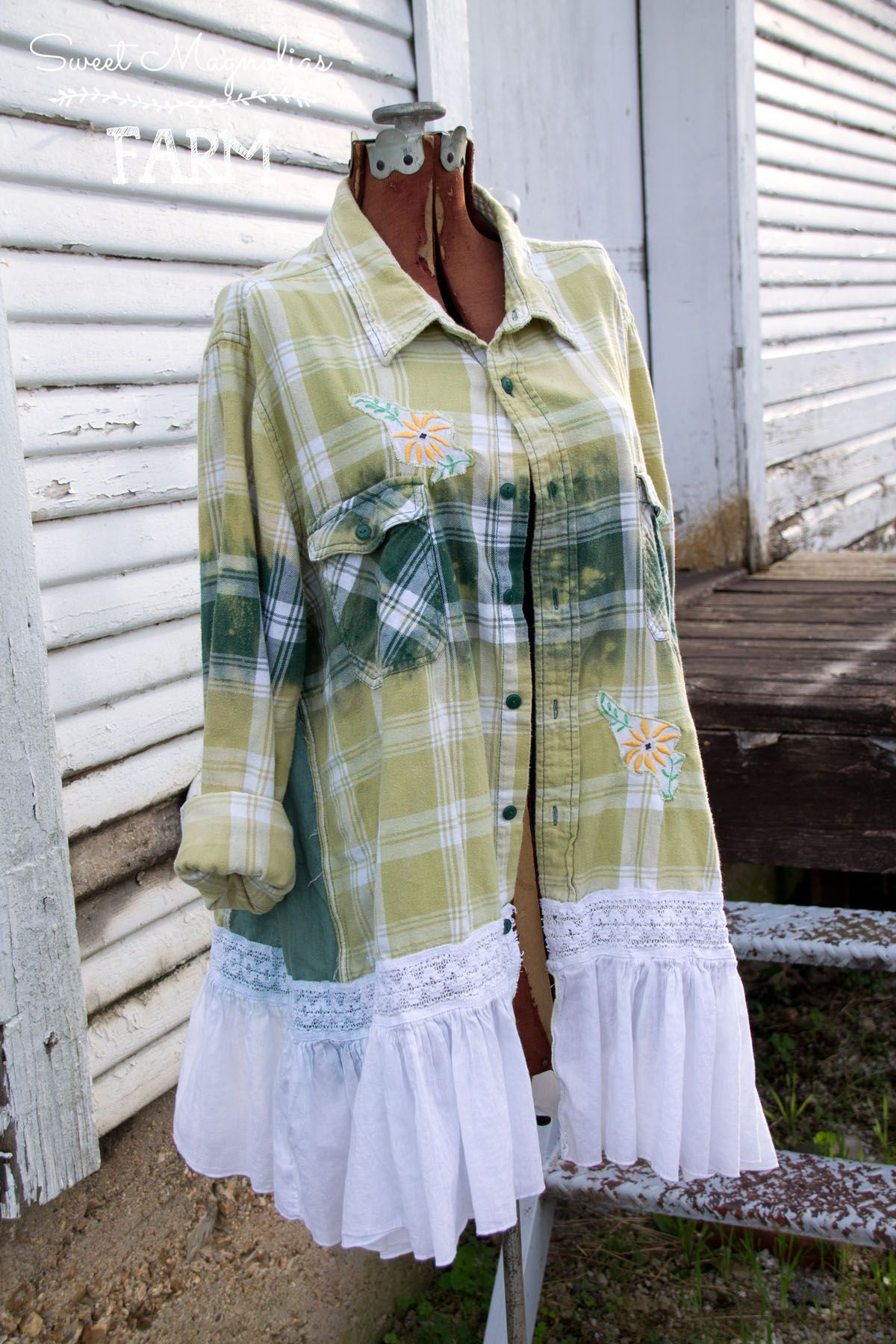 Flannel shirt apron  Farm Girl Fancies Upcycled Flannel Shirt  Jackets by Sweet