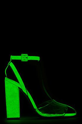 ALEXANDER WANG Off-White Rubberized Leather Glow-In-The-Dark Agata Heels