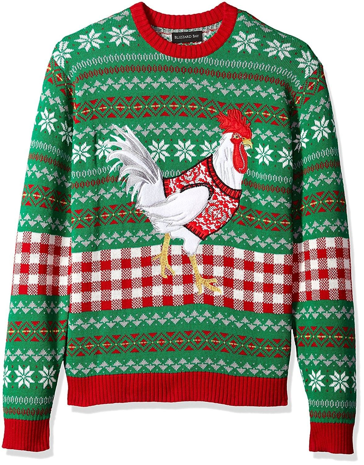 Mens White Chicken Crew Neck Ugly Xmas Green Cr184wzsyzl