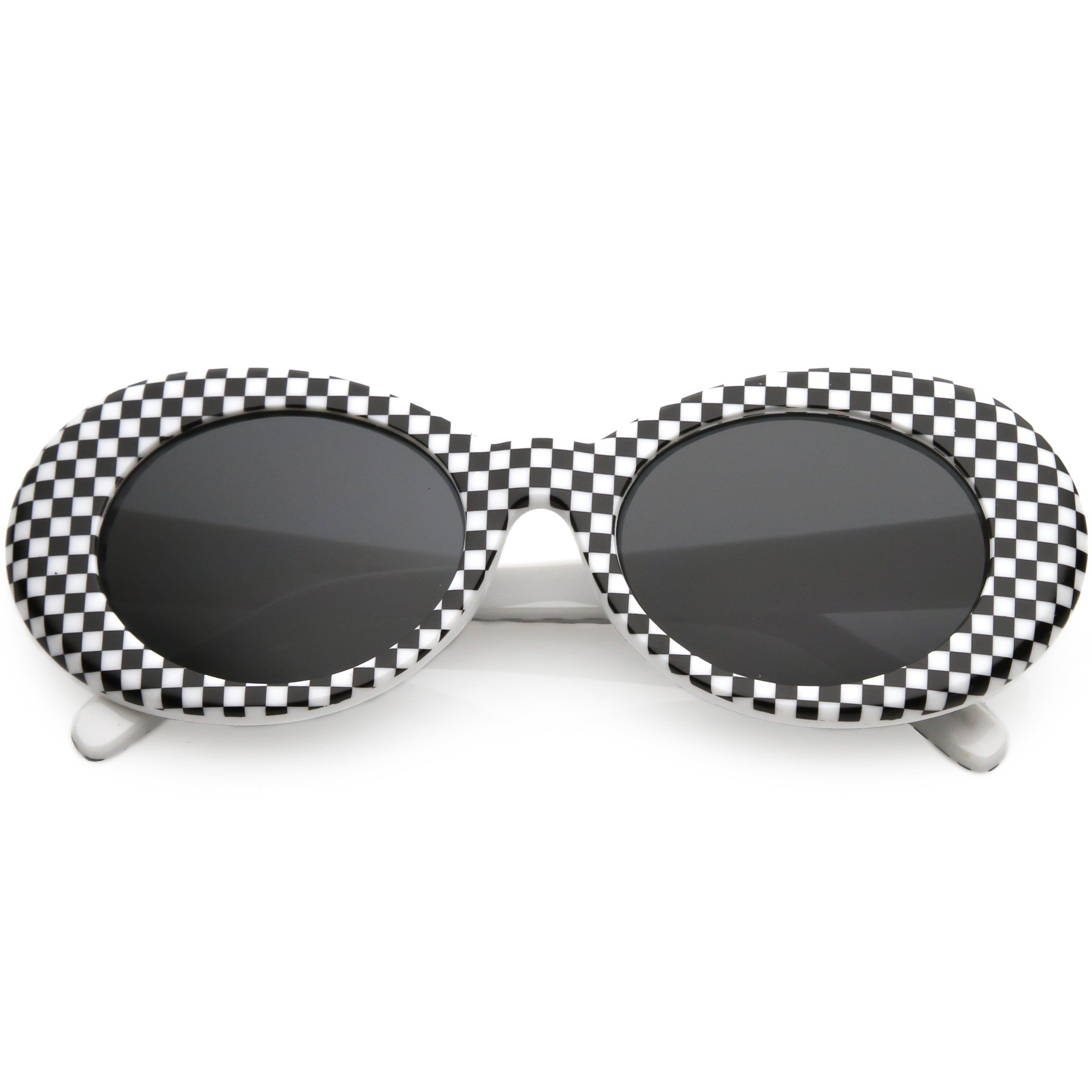 aed6ebf3257 Retro 1990 s Rad Clout Goggle Checkered Colored Lens Oval Sunglasses C488