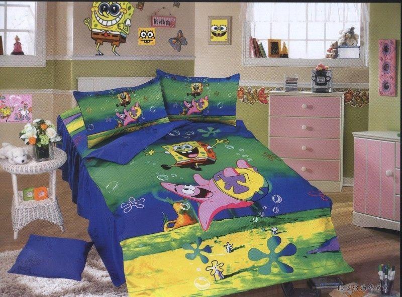 Blue green spongebob bedding single twin size bed quilt