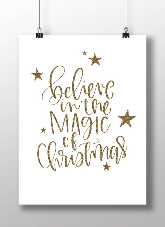 Believe In The Magic Of Christmaschristmas Quote Etsy Christmas Wall Art Christmas Quotes Lettering