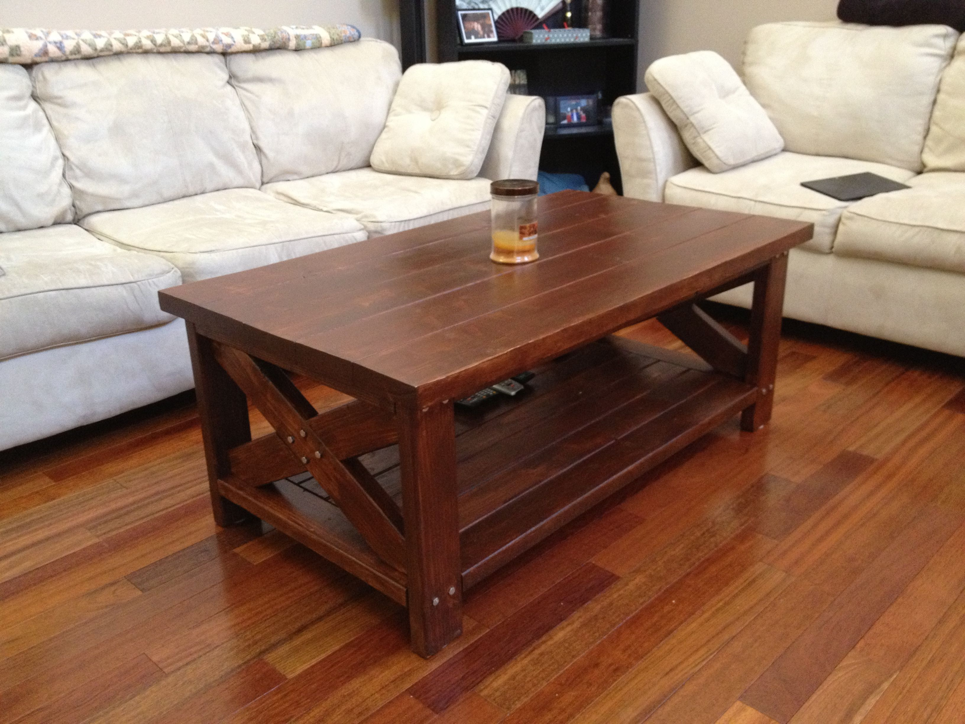 Rustic farm style coffee table made from 2x4 39 s and 2x6 39 s for Furniture table design examples