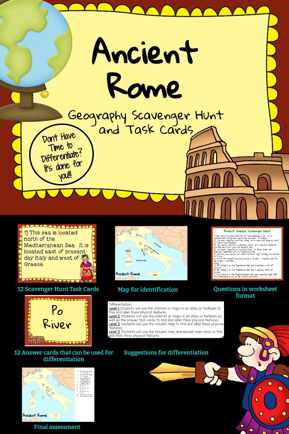 Ancient Rome: Geography Scavenger Hunt and Task Cards ...