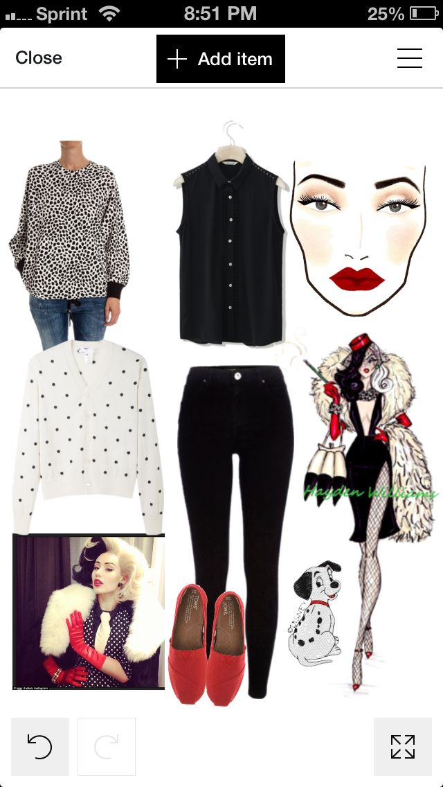 Cruella Deville simple halloween costume. Casual costume. Disney ...