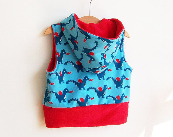 Boy Girl DRAGON Baby Vest sewing pattern Pdf Hooded Knit Jersey Fleece or Wov...