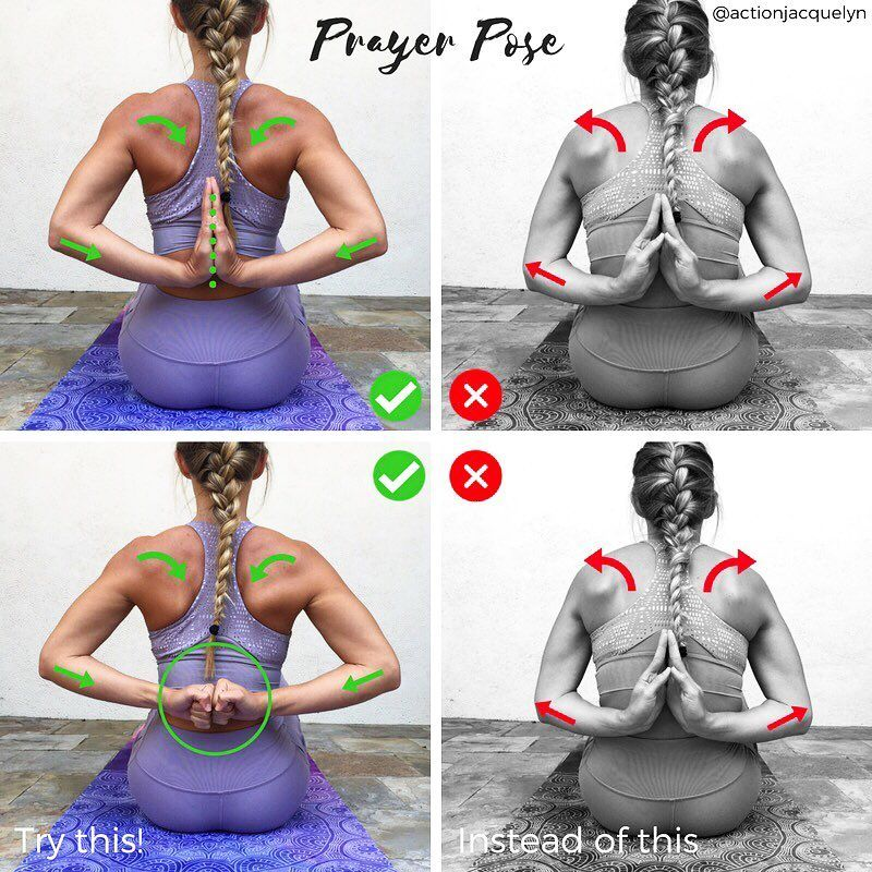 """STRETCHY FIT Yoga Trainer on Instagram: """"PRAYER POSE Anjali Mudra (Salutation Seal) � Prayer Pose behind the back stretches the shoulders, and strengthens your back and posture…"""""""