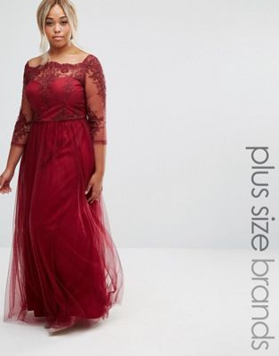 1d74c79598a Chi Chi London Plus Premium Lace Bodice Maxi Dress With Tulle Skirt ...