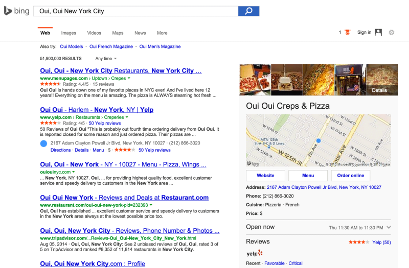 Bing Offers Link To Order Food Online From Your Favorite Restaurants
