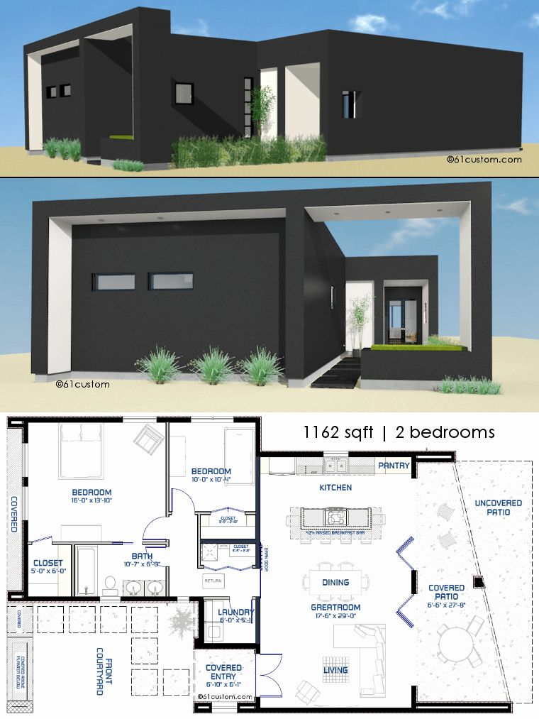 Modern Two Bedroom House Plans Beautiful Small Front Courtyard H In 2020 Minecraft Small Modern House Modern Contemporary House Plans Minecraft Modern House Blueprints