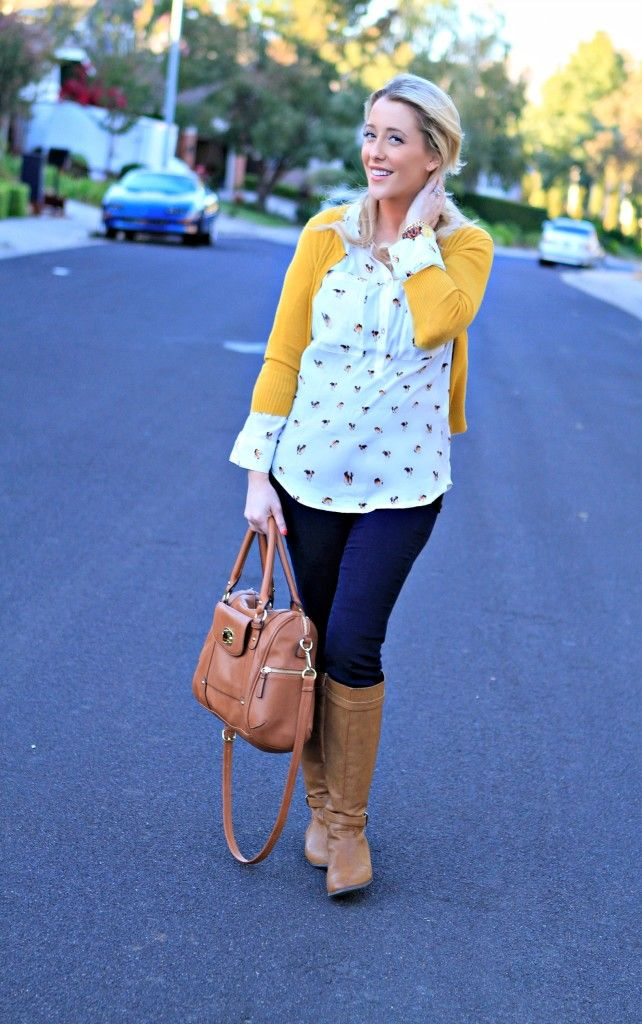 Slip on a sunny yellow cardigan to bring some fun energy into this cool day.