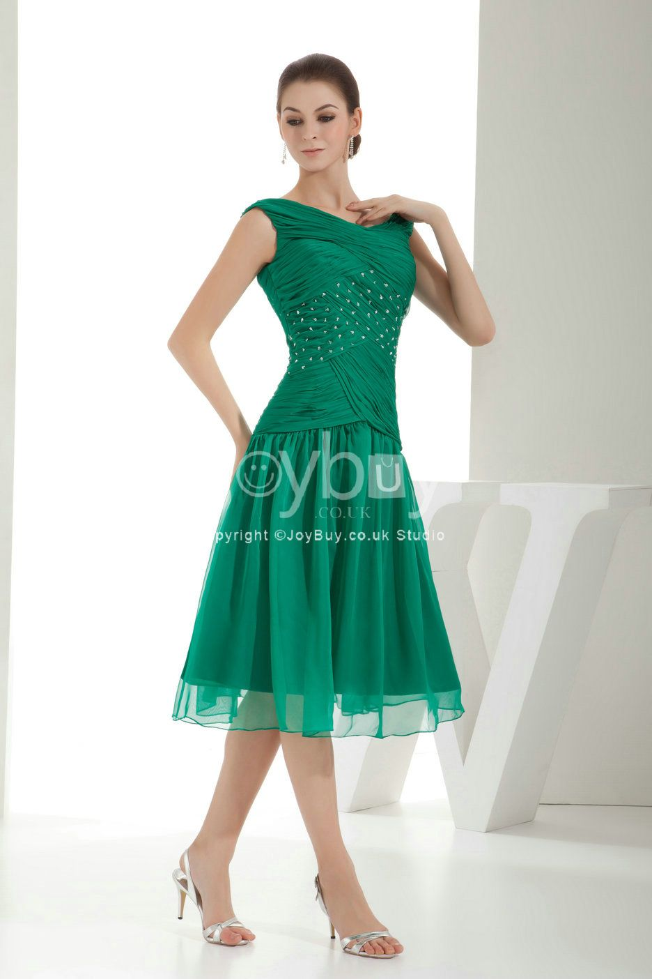 Green Tea Length Formal Dress | Tea Length A Line Criss Cross ...