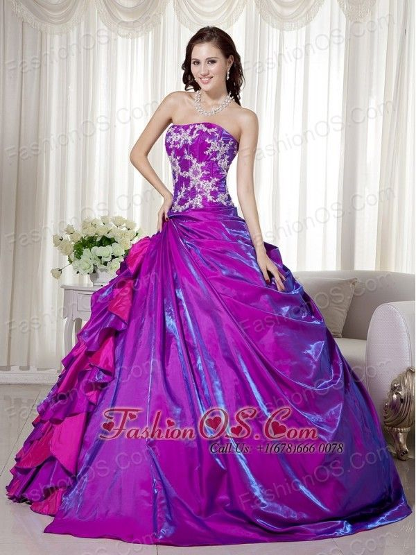 Purple Ball Gown Strapless Floor-length Taffeta Appliques ...