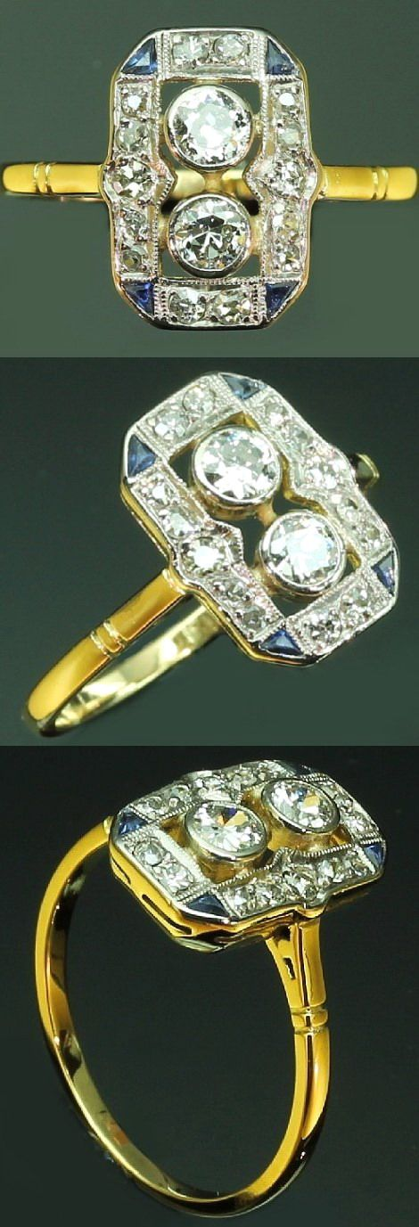 Art Deco Engagement Ring Diamonds Sapphires Yellow Gold from the 1920s.